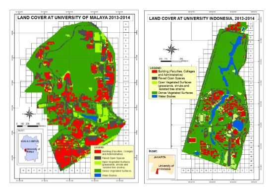 Land Cover Types and Their Effect on the Urban Heat Signature of University Campuses using Remote Sensing