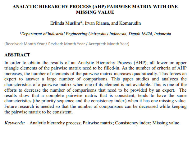 Analytic Hierarchy Process (AHP) Pairwise Matrix with One Missing Value